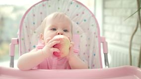 Beautiful baby eating apple in baby chair. Cute child tasting fruit stock footage