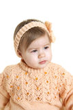 Beautiful baby girl. Wearing warm handmade clothes Stock Images