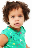 Beautiful Baby Girl. Adorable 1 year old hispanic african american girl over white background Royalty Free Stock Photo