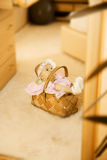 A beautiful baby girl. With cute facial expression lying in a basket Royalty Free Stock Photo