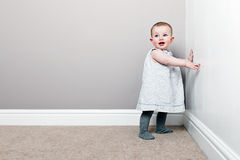 Beautiful Baby Girl against Wall Stock Photography