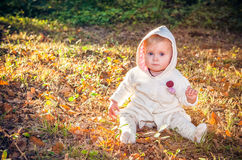 Beautiful baby girl in autumn park Stock Images