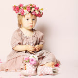 Beautiful baby girl, birthday card Stock Photography