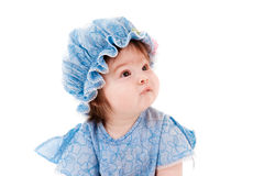 Beautiful baby girl in a blue dress Royalty Free Stock Image