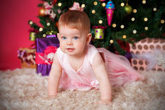 Beautiful baby girl at Christmas Stock Photography