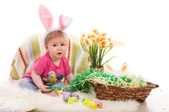 Beautiful baby girl in Easter decor Stock Images