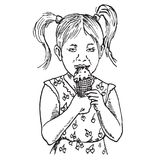 Beautiful baby girl eating ice cream in a waffle cup. Hand drawn doodle, sketch in pop art style, vector Stock Image