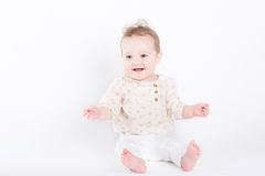 Beautiful baby girl in an elegant shirt and pants Royalty Free Stock Images