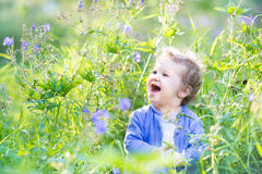 Beautiful baby girl in a garden with blue flowers Stock Photos