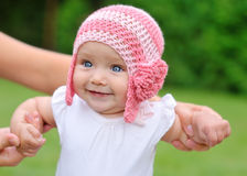 Beautiful baby girl with hat smiling Royalty Free Stock Photo