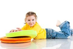 Beautiful baby girl  lying on a pillow Stock Photos