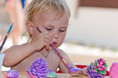Beautiful baby girl painting Royalty Free Stock Photo