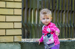 Beautiful baby girl and playing in the park among the trees and bushes near the fence Royalty Free Stock Photos