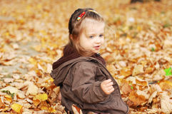 Beautiful baby girl plays in autumn forest Stock Photos