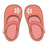 Beautiful baby girl shoes. Illustration of beautiful baby girl shoes Royalty Free Stock Photography