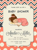 Beautiful baby girl shower card with cute little girl Stock Photos