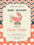 Beautiful baby girl shower card with stroller. Format Stock Photography