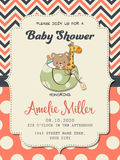 Beautiful baby girl shower card with toys Royalty Free Stock Photography