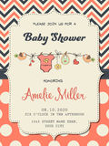 Beautiful baby girl shower card Royalty Free Stock Image
