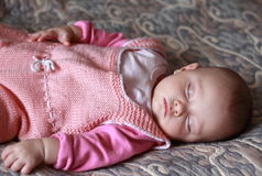 Beautiful baby girl sleeping royalty free stock images