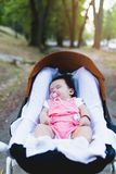 Mother and baby girl enjoying outdoors stock images