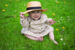 Beautiful baby girl with sun hat Royalty Free Stock Image