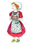 Beautiful Baby Girl in white chef`s hat, polka-dot apron and red dress standing and holding plate with Christmas pudding Stock Image