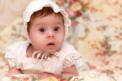 Beautiful baby girl in white dress Royalty Free Stock Photos