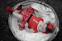 Beautiful baby girl in wicker basket portrait Stock Images