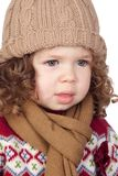 Beautiful baby girl with wool cap Stock Image