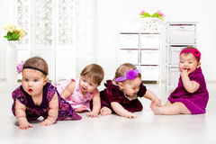 Girls group in festive dresses Royalty Free Stock Photos
