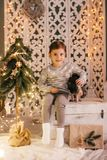 Beautiful baby girls near a Christmas tree with gifts. With little boy feeding black vietnamese piglet. Concept of the Chinese New Year 2019 of the Pig stock photos