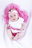 Beautiful baby with heart pink pillow Royalty Free Stock Images