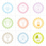Beautiful baby icon collection Stock Photos