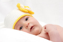 Beautiful baby in knitted hat Royalty Free Stock Image