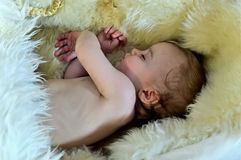 A beautiful baby laying on a fur rug Royalty Free Stock Photo