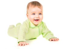 Beautiful baby learns to crawl Royalty Free Stock Photography