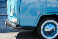 Beautiful baby ligh blue volkswagen wan vw standing on a street. Antique transportation object is on the road Stock Photography
