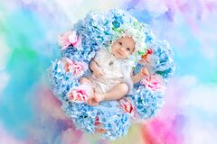 Beautiful baby 6 months in a hat made of flowers, lying in a basket with hydrangeas on a blue background, a small child among
