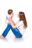 Beautiful baby and mother playing Royalty Free Stock Photography
