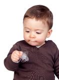 Beautiful baby with a pacifier Stock Photo