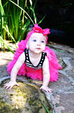 Beautiful Baby with Pink Bow Royalty Free Stock Photos