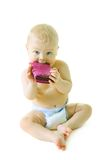 Beautiful baby with pink wallet Royalty Free Stock Photos