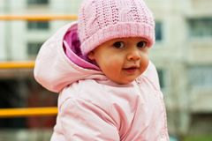 Beautiful baby portrait outdoor in playground Stock Photos