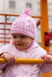 Beautiful baby portrait outdoor in playground Royalty Free Stock Photo