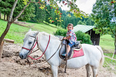 Beautiful baby rides a horse Stock Image