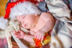 Beautiful baby in Santa Claus hat Royalty Free Stock Image