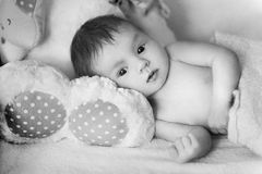 Beautiful baby on sheep skin stock photo