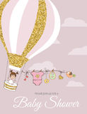Beautiful  baby shower card template with golden glittering deta Royalty Free Stock Photo