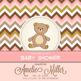 Beautiful baby shower card template with golden glittering detai Stock Images